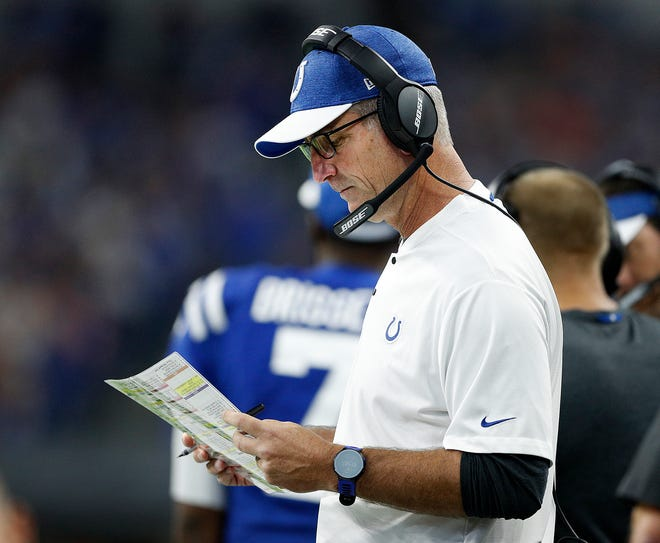 Indianapolis Colts head coach Frank Reich in the first half of their game against the Cincinnati Bengals at Lucas Oil Stadium on Sept. 9, 2018.