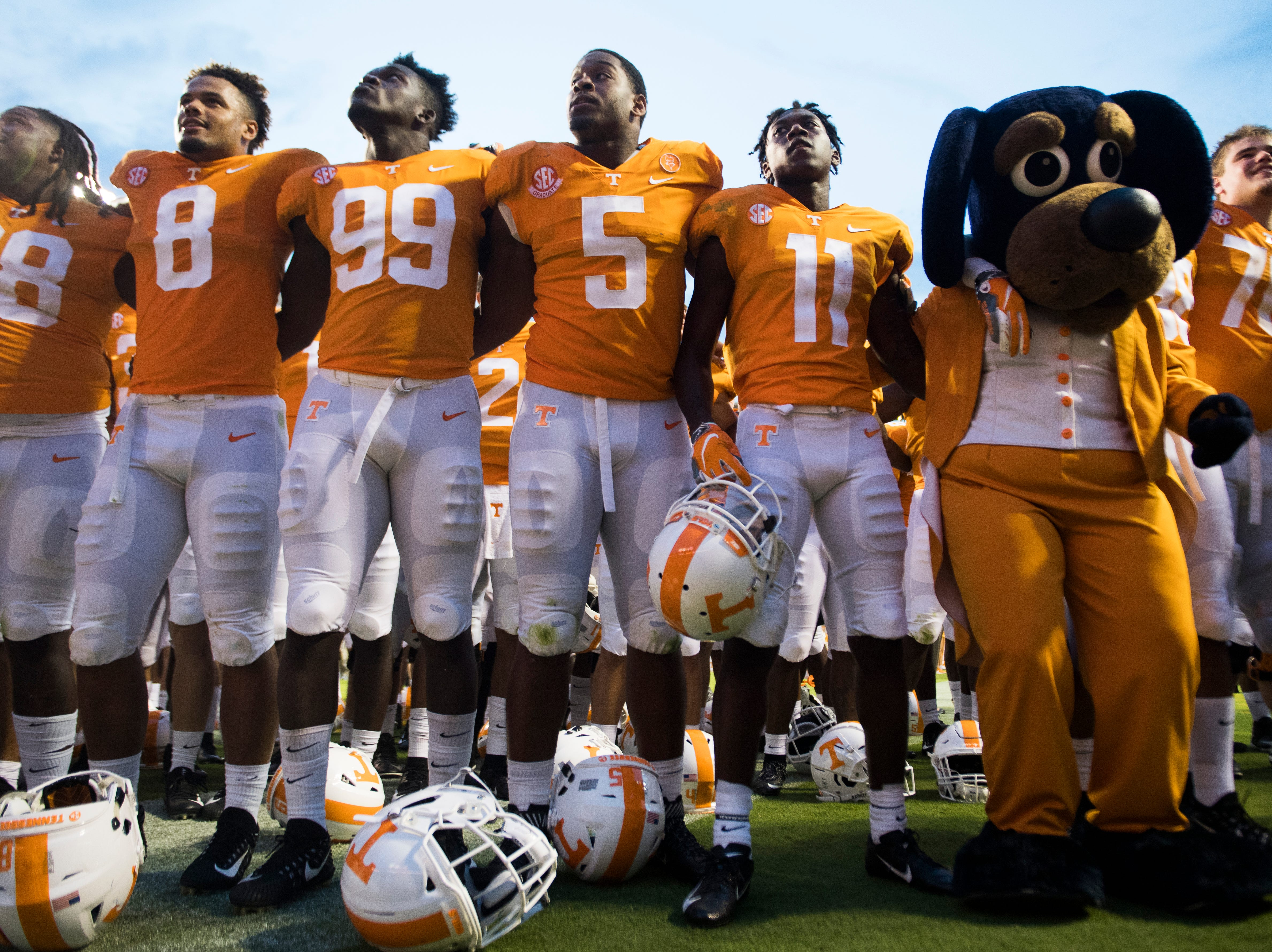 Tennessee celebrates during a game between Tennessee and ETSU at Neyland Stadium in Knoxville, Tennessee on Saturday, September 8, 2018.