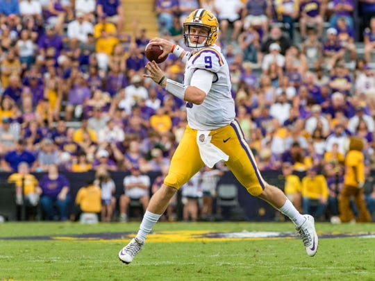 Tigers quarterback Joe Burrow throws a pass as The LSU Tigers take on Southeastern Louisiana Lions. Saturday, Sept. 8, 2018.