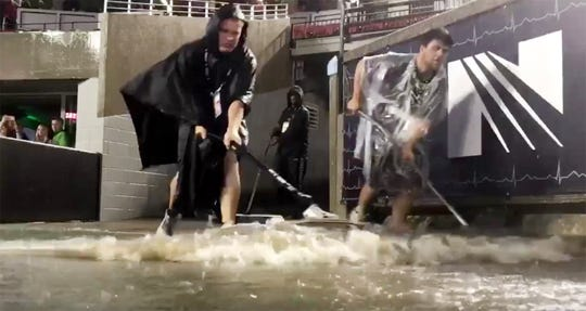 rain delay at Cardinal Stadium. video screenshot.