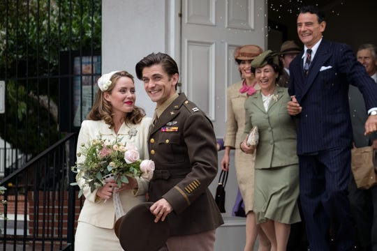 "Returning war hero Louis Zamperini (Samuel Hunt) meets and marries Cynthia (Merritt Patterson) in ""Unbroken: Path to Redemption."""