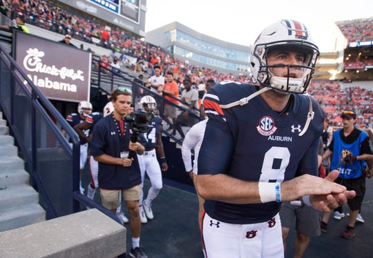 Auburn's Jarrett Stidham (8) runs out onto the field to warm up at Jordan-Hare Stadium in Auburn, Ala., on Saturday, Sept. 8, 2018. Auburn defeated Alabama State 63-9.