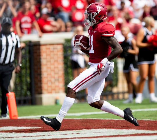 Alabama wide receiver Henry Ruggs, III, (11) scores a touchdown against Arkansas State In first half action at Bryant Denny Stadium in Tuscaloosa, Ala., on Saturday September 8, 2018.