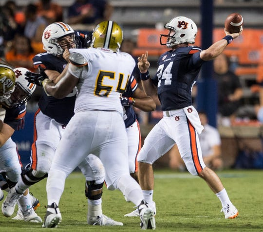 Auburn's Cord Sandberg (24) looks to make a pass against Alabama State at Jordan-Hare Stadium in Auburn, Ala., on Saturday, Sept. 8, 2018. Auburn defeated Alabama State 63-9.