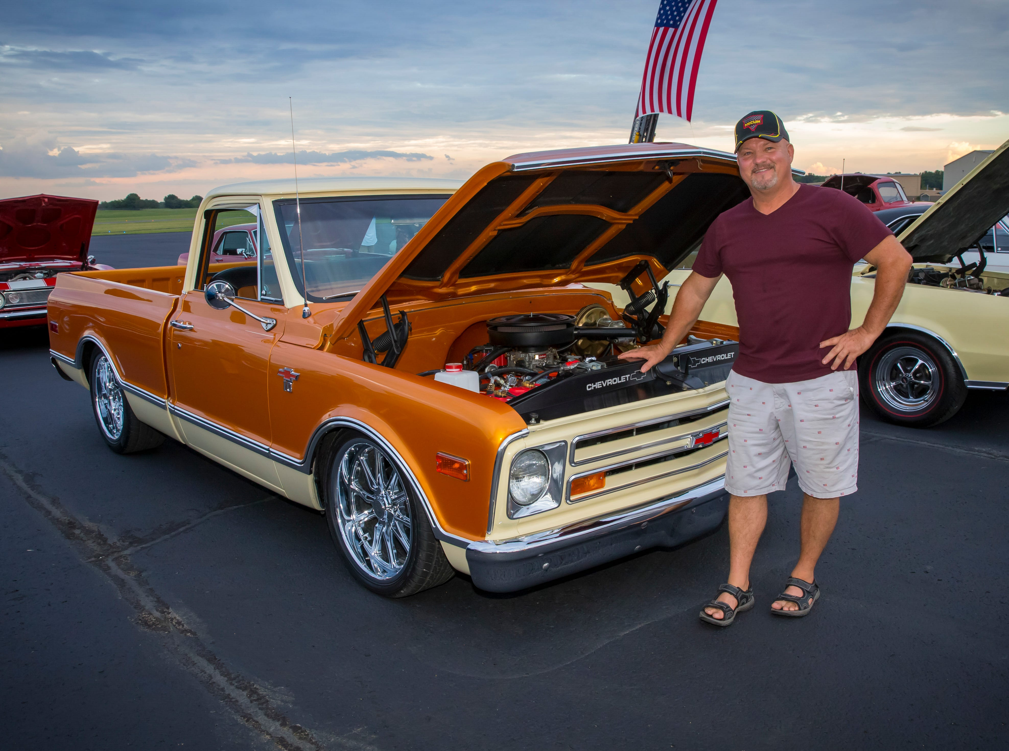 Chris Bratcher with his customized 1967 Chevy pickup at the Wings of Freedom Fish Fry hosted by Smyrna Rotary Club. The event was held Saturday, Sept. 8, 2018 at the Corporate Flight Management Hangar at Smyrna Airport.