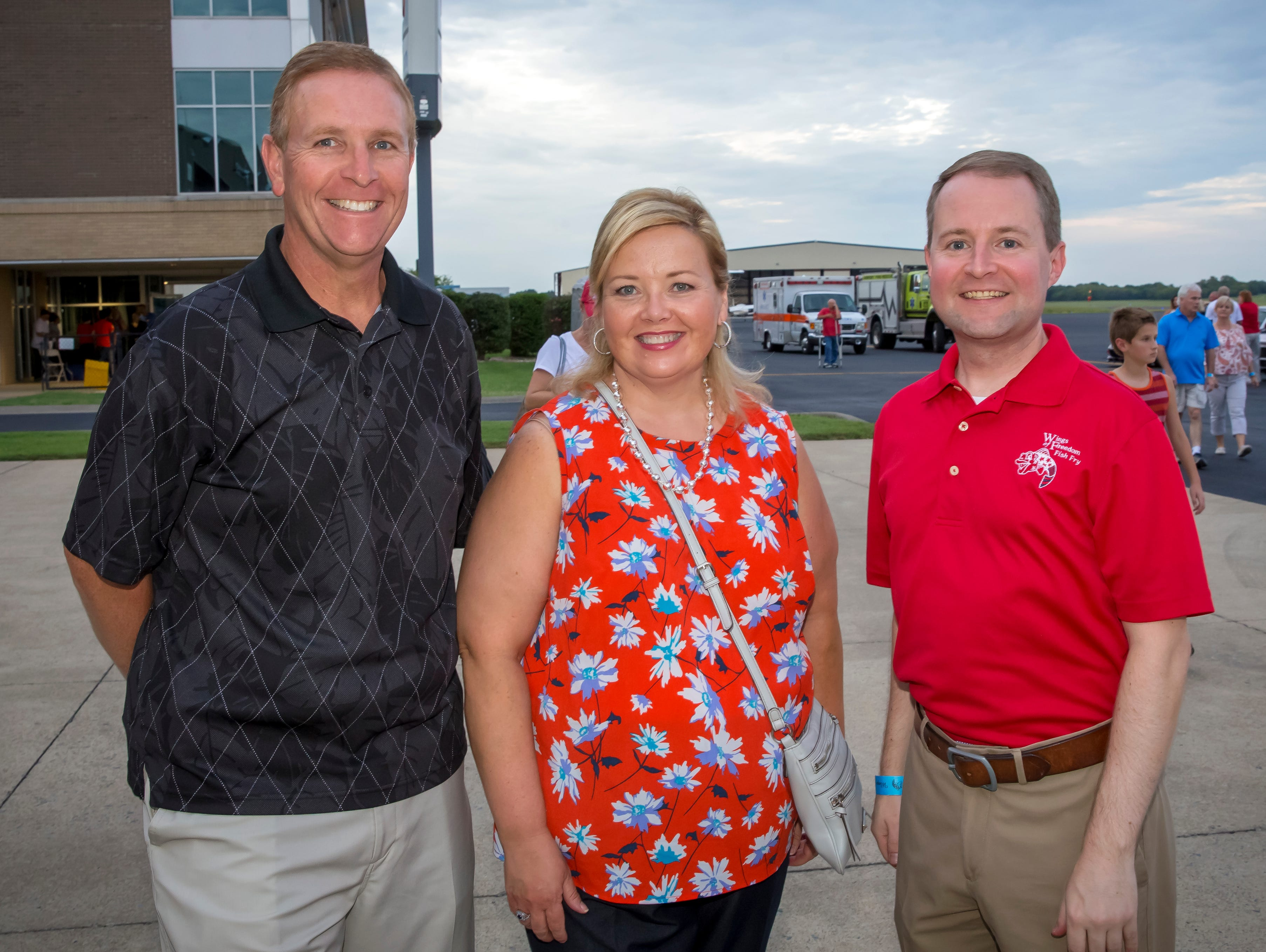 Mike and Rhonda Allen along with Robert Stevens at the Wings of Freedom Fish Fry hosted by Smyrna Rotary Club. The event was held Saturday, Sept. 8, 2018 at the Corporate Flight Management Hangar at Smyrna Airport.