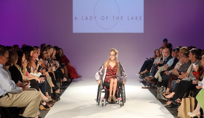 A model participates in the Boundless 2018 fashion show held at Studio 615 on Saturday, September 8, 2018.