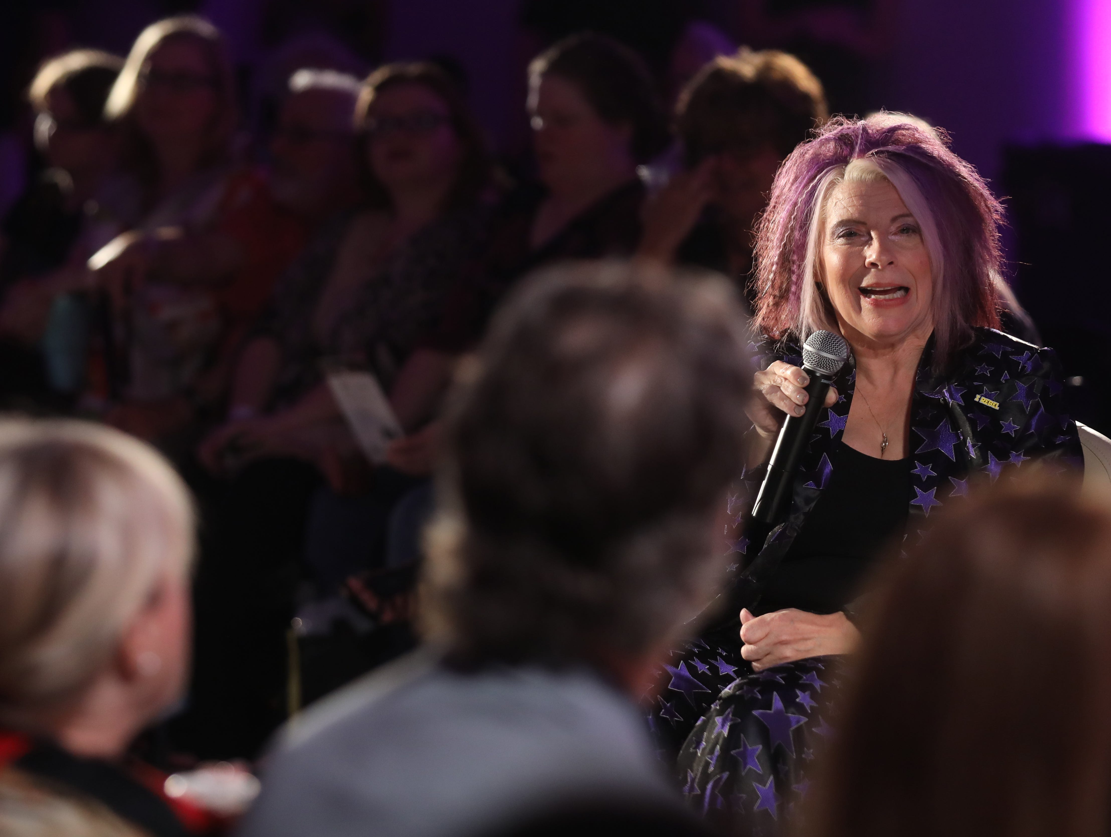 Boundless 2018 organizer Alicia Searcy speaks before the start of the fashion show held at Studio 615 on Saturday, September 8, 2018.