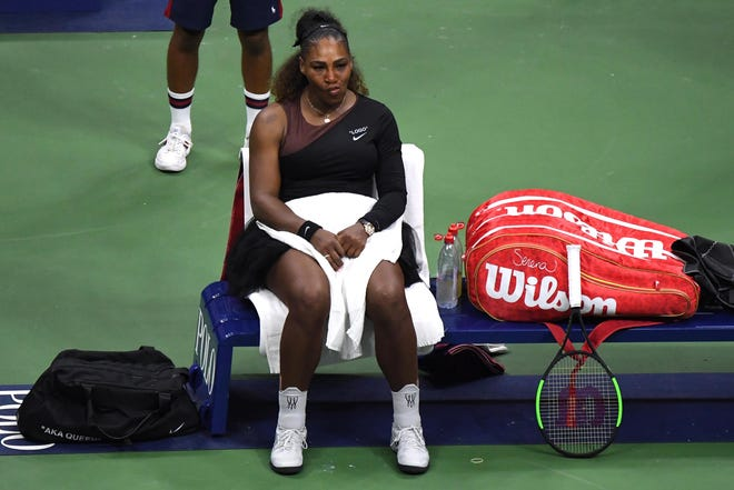 Sep 8, 2018; New York, NY, USA; Serena Williams of the United States sits at her bench after yelling at the chair umpire during the women's final against Naomi Osaka of Japan (not pictured) on day thirteen of the 2018 U.S. Open tennis tournament at USTA Billie Jean King National Tennis Center.