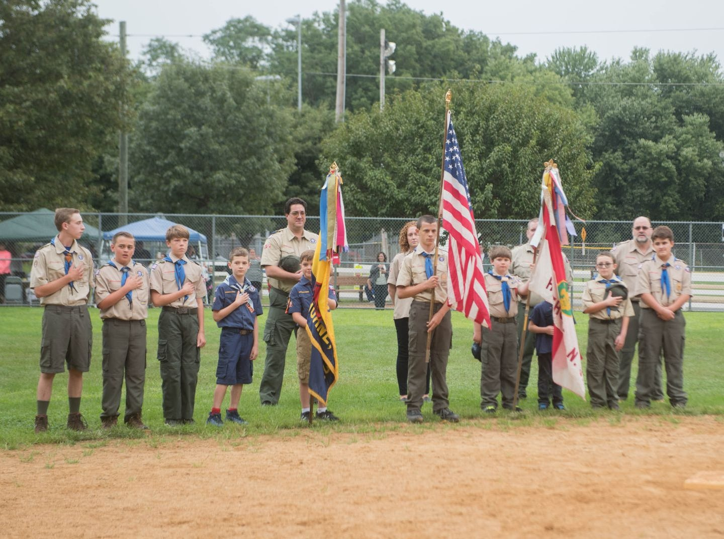 The Boy Scouts do the presentation of the colors. Mark A. Sasso Memorial Fund hosted its 10th annual Softball Fundraiser this past Saturday at Wagaraw Baseball Field in Hawthorne. Don La Greca was joined by many of his fellow ESPN personalities and celebrity guests to play against the winning ALRC team from the round robin tournament that took place throughout the day. 09/08/2018