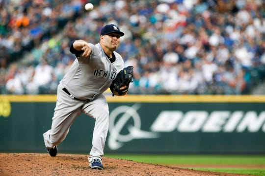 Sep 8, 2018; Seattle, WA, USA; New York Yankees starting pitcher Lance Lynn (36) throws against the Seattle Mariners during the third inning at Safeco Field.