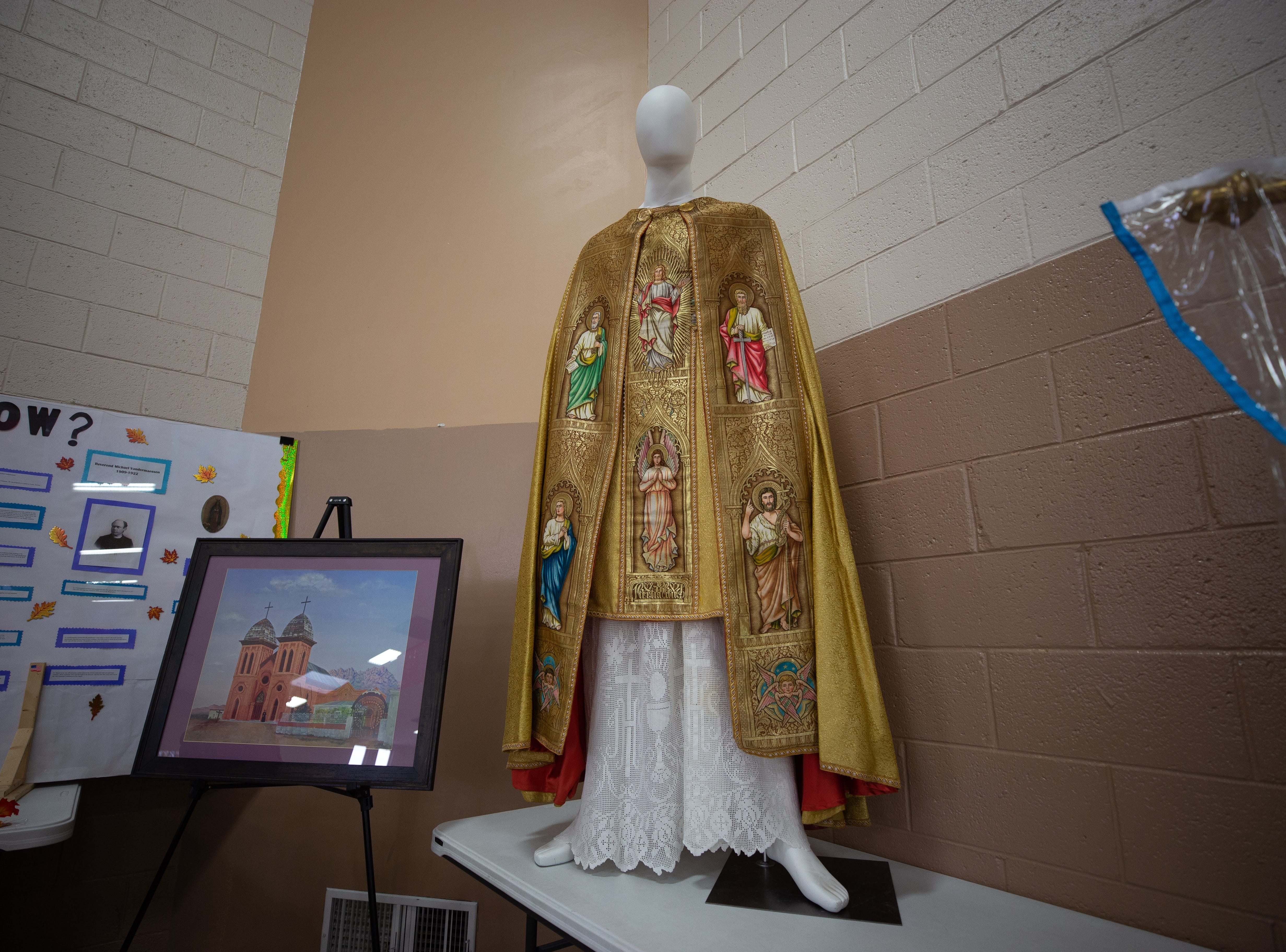 A priest's vestment, more than 100 years old, is on display at the St. Genevieve Fiesta on Saturday, Sept. 8, 2018.