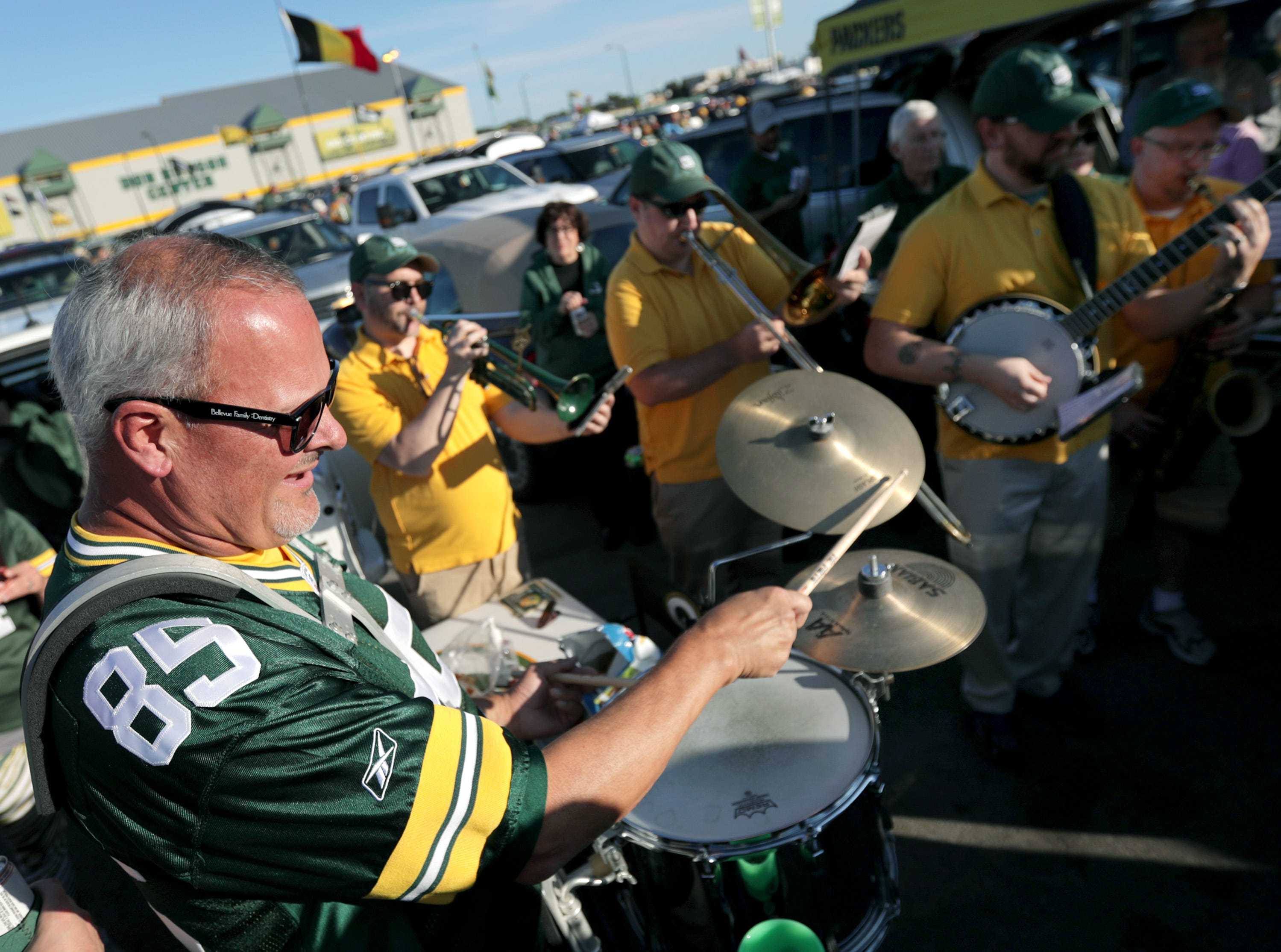 The Packers Tailgate Band plays befoe the Green Bay Packers host the Chicago Bears in the season opener on Sunday, September 9, 2018, at Lambeau Field in Green Bay, Wis.