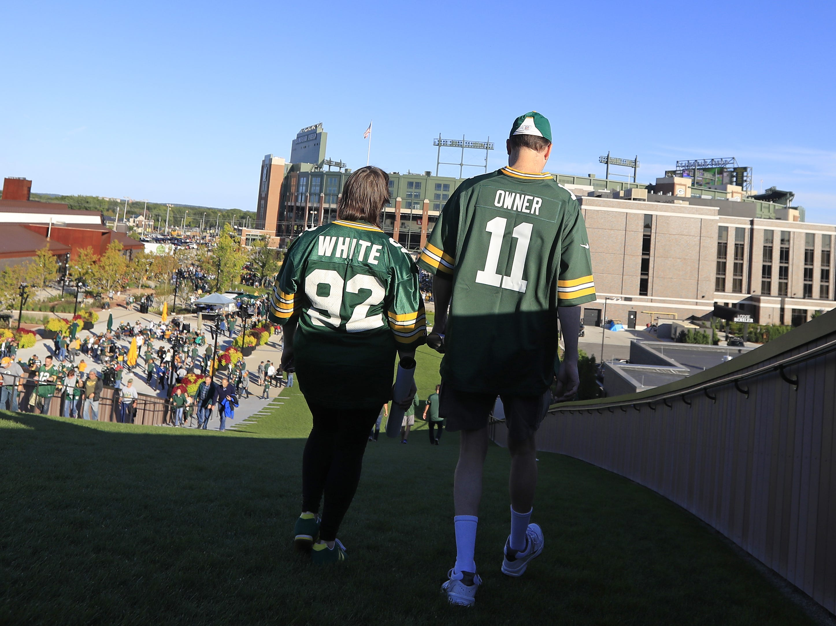 Fans check out the view in the Titletown district before the Packers vs Bears game at Lambeau Field on Sunday, September 9, 2018 in Green Bay, Wis.