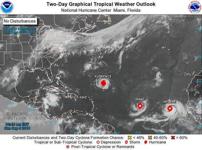 Hurricane Florence, Tropical Storm Isaac and Tropical Storm Helene have all formed in the Atlantic Ocean