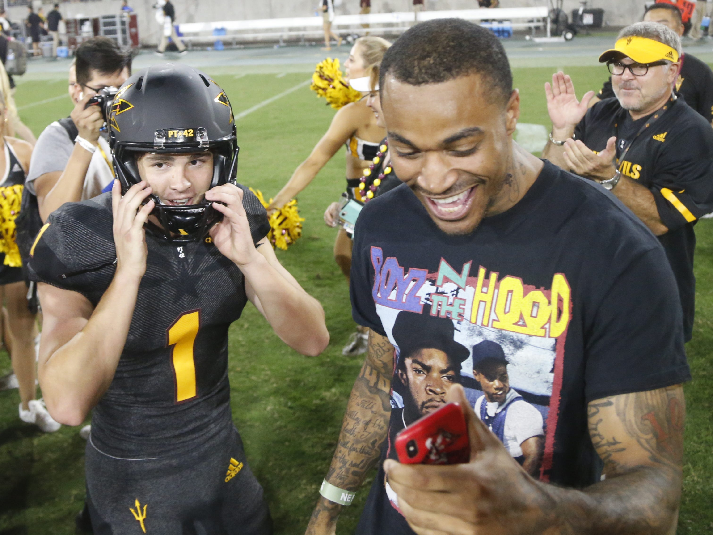 Arizona State Sun Devils kicker Brandon Ruiz (1) celebrates on Jaelen Strong's Instagram story after kicking the game-winning field goal defeating Michigan State 16-13 at Sun Devil Stadium in Tempe, Ariz. on Sept. 8, 2018.
