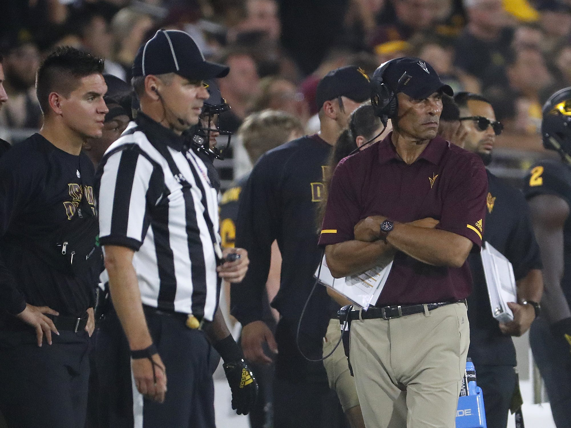 ASU's head coach Herm Edwards watches his team play during the third quarter against Michigan State at Sun Devil Stadium in Tempe, Ariz. on Sept. 8, 2018.