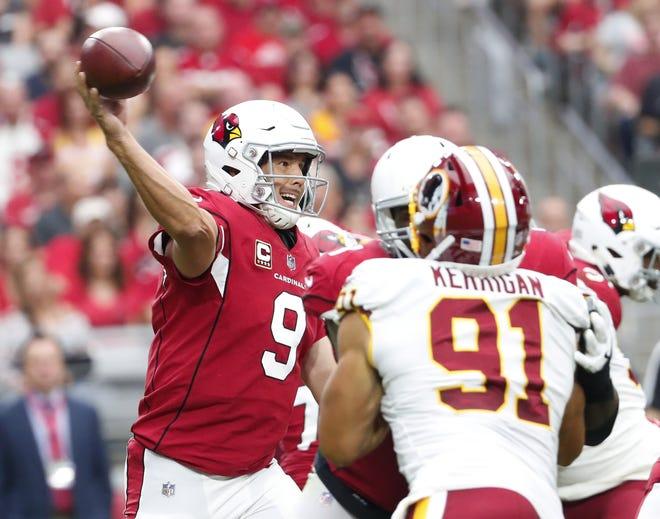 Arizona Cardinals quarterback Sam Bradford (9) throws a pass against the Washington Redskins during the second quarter at State Farm Stadium in Glendale, Ariz. September 9. 2018.