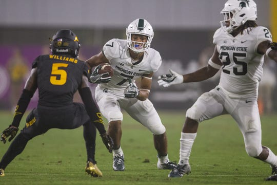 Having receivers Cody White, left, and Darrell Stewart, right, healthy should make a big difference for MSU's offense.