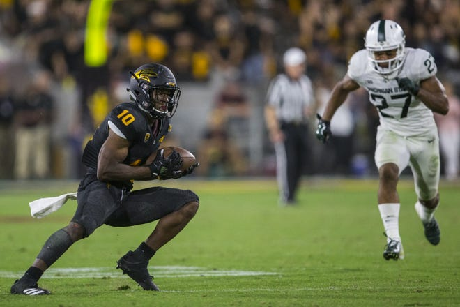 Arizona State's Kyle Williams runs after a catch against Michigan State in the 4th quarter on Saturday, Sept. 8, 2018, at Sun Devil Stadium in Tempe, Ariz. Arizona State won, 16-13.
