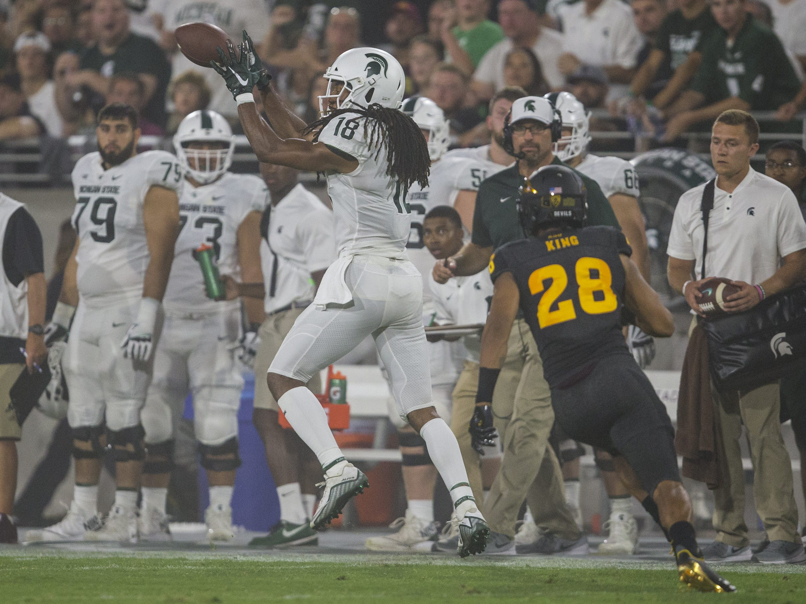 Michigan State's Felton Davis III makes a catch against Arizona State in the 2nd quarter on Saturday, Sept. 8, 2018, at Sun Devil Stadium in Tempe, Ariz.