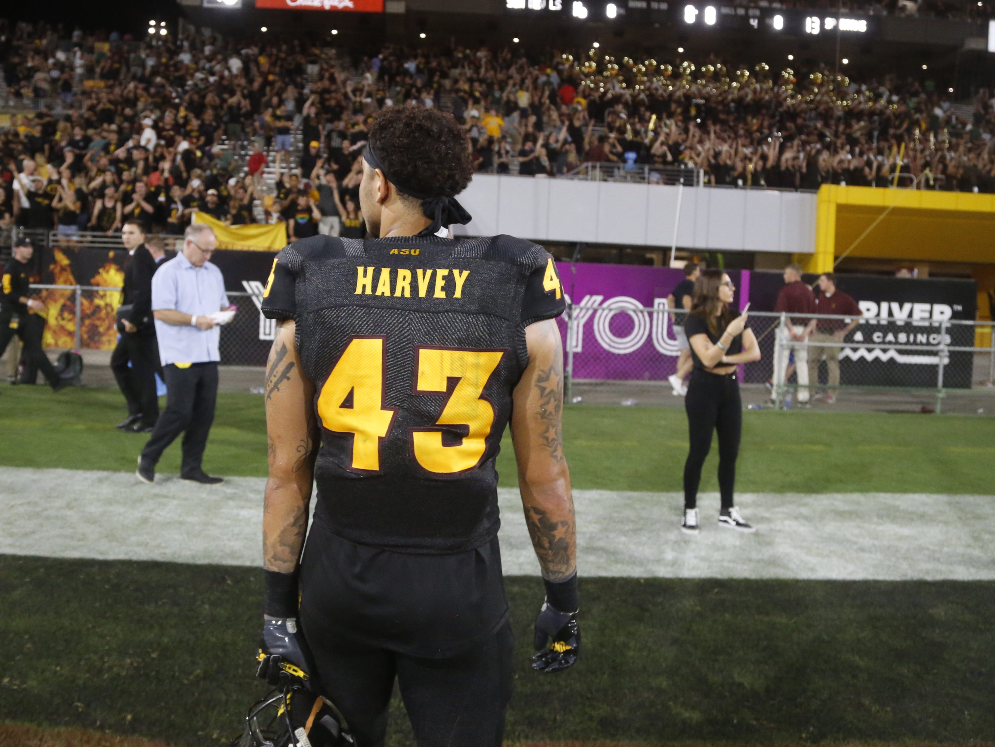 Arizona State Sun Devils safety Jalen Harvey (43) walks off the field after ASU defeat Michigan State 16-13 at Sun Devil Stadium in Tempe, Ariz. on Sept. 8, 2018.