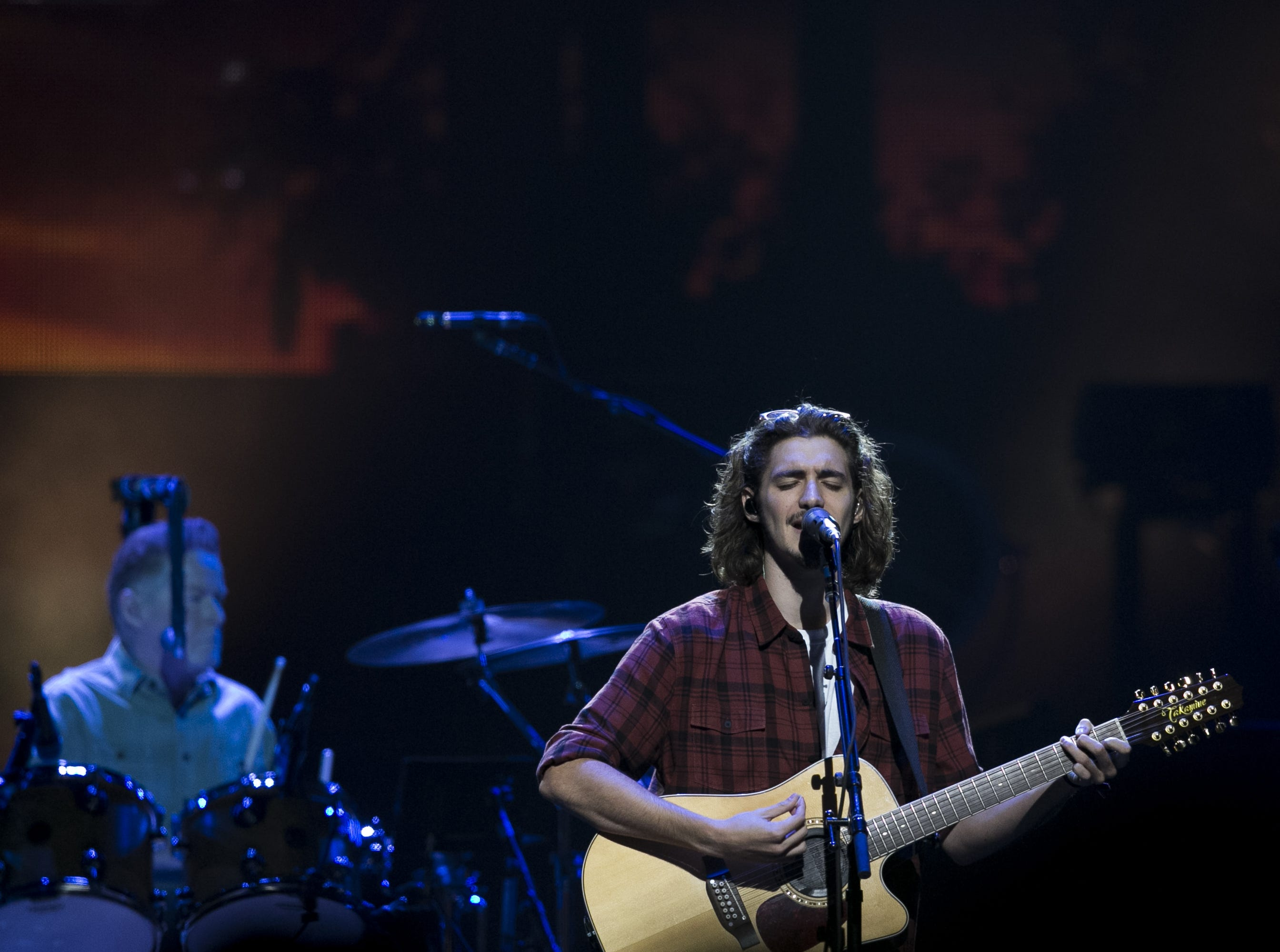 Deacon Frey, son of the late Glenn Frey, performs with the Eagles at Talking Stick Resort Arena in Phoenix on Sat. Sep. 8, 2018.