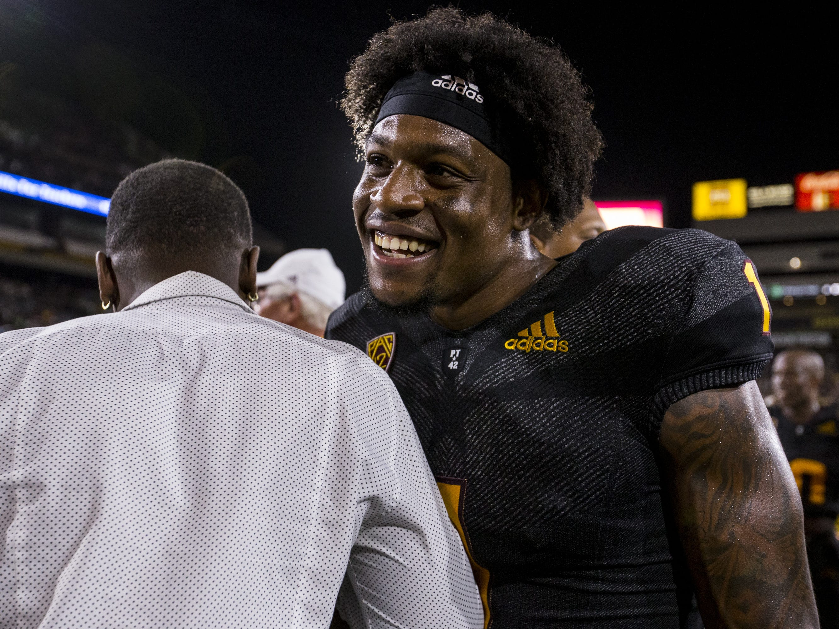 Arizona State's N'Keal Harry celebrates after defeating Michigan State on Saturday, Sept. 8, 2018, at Sun Devil Stadium in Tempe, Ariz. Arizona State won, 16-13.