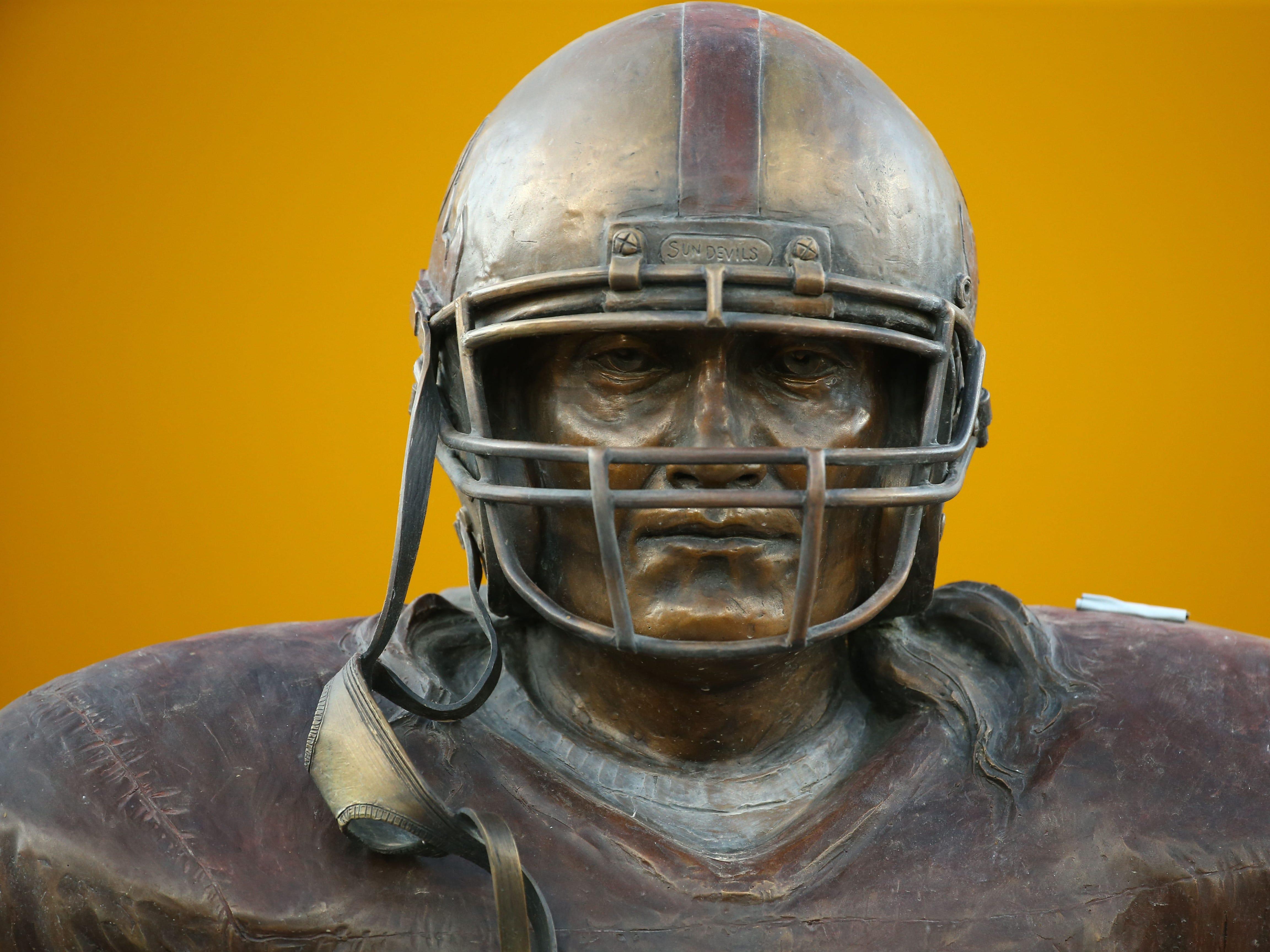 Pat Tillman statue during the Michigan State game on Sep. 8, 2018, at Sun Devil Stadium.