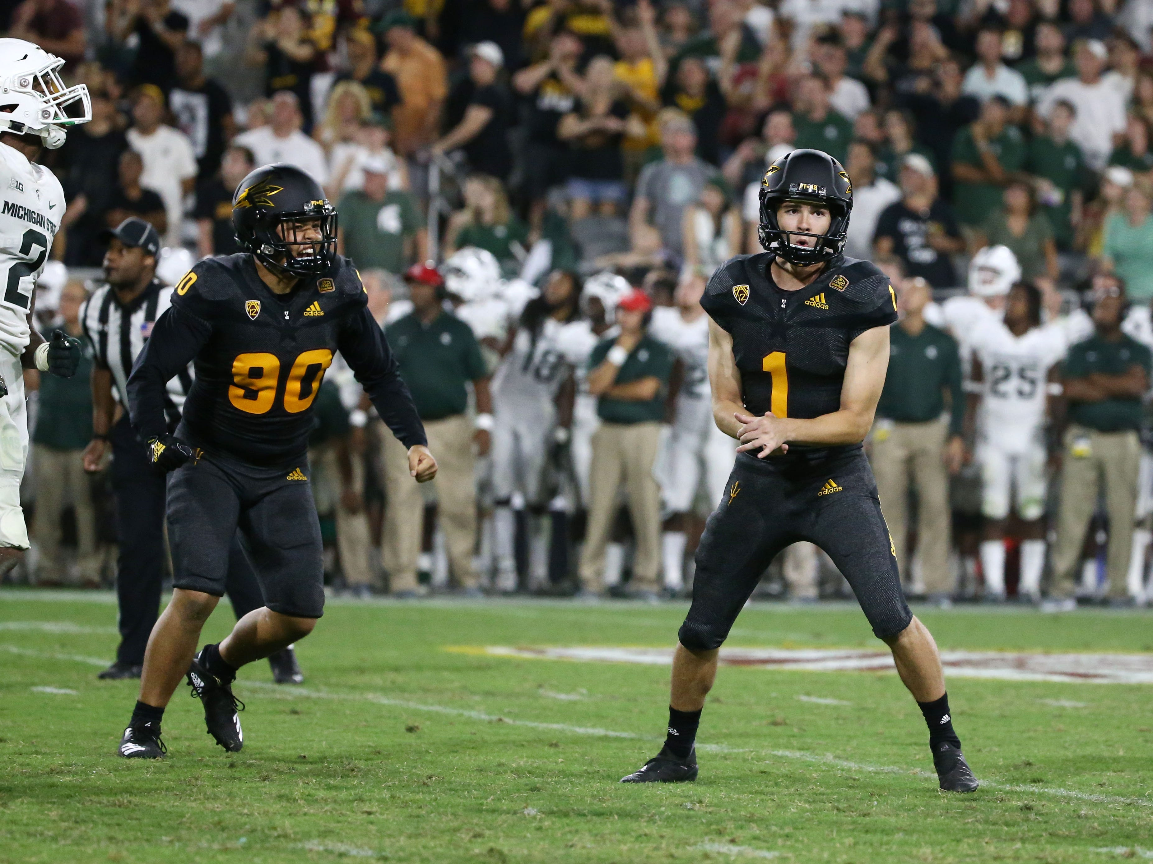 Arizona State place kicker Brandon Ruiz reacts after kicking the winning field goal to defeat Michigan State 16-13 on Sep. 8, 2018, at Sun Devil Stadium.