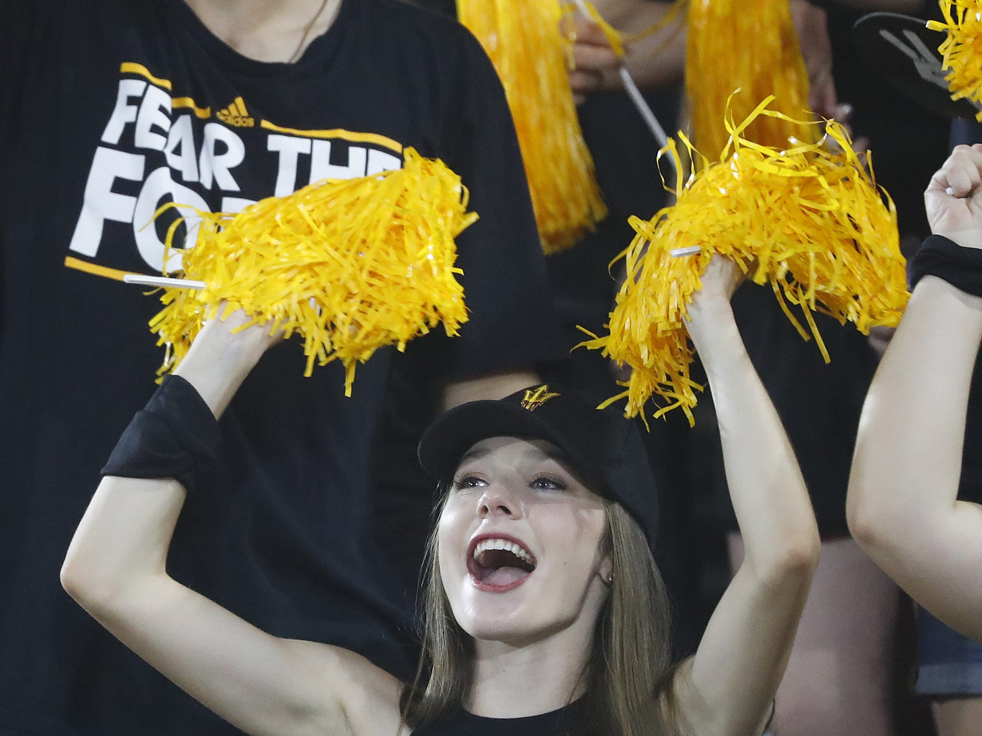 ASU fans cheer on their team to start the game against Michigan State during the first quarter at Sun Devil Stadium in Tempe, Ariz. on Sept. 8, 2018.