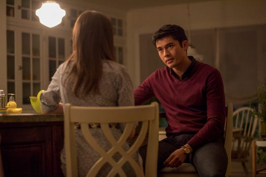 "In ""A Simple Favor,"" Stephanie (Anna Kendrick) comforts Sean after his wife disappears."