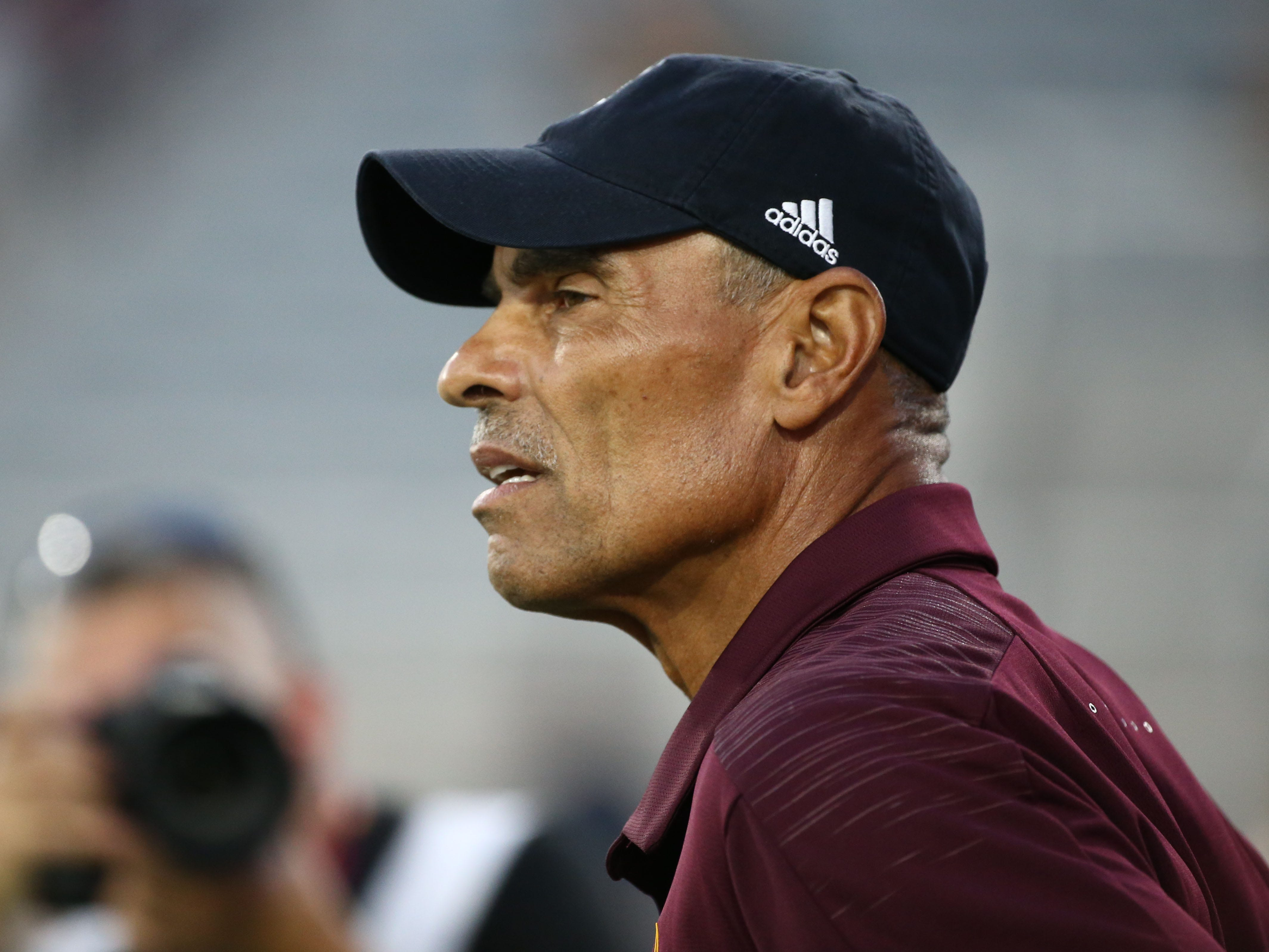 Arizona State head coach Herm Edwards prepares for Michigan State on Sep. 8, 2018, at Sun Devil Stadium.