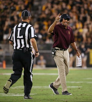 Arizona State head coach Herm Edwards against Michigan State in the second half on Sep. 8, 2018, at Sun Devil Stadium.