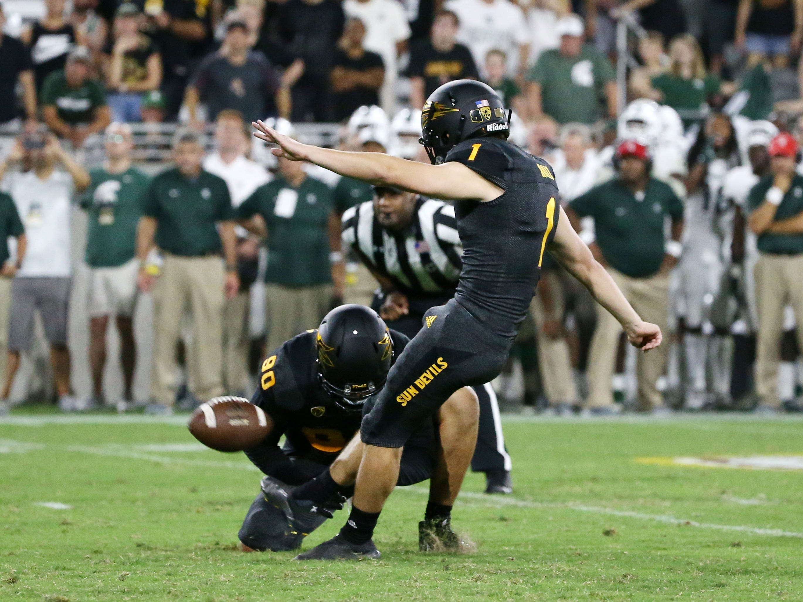 Arizona State place kicker Brandon Ruiz kicks the winning field goal to defeat Michigan State 16-13 on Sep. 8, 2018, at Sun Devil Stadium.