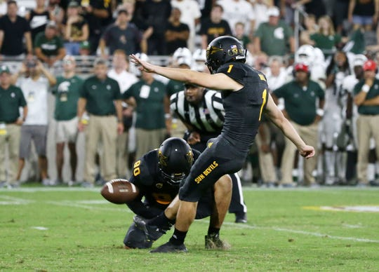 Arizona State kicker Brandon Ruiz kicks a field goal to defeat Michigan State 16-13 on Sept. 8 at Sun Devil Stadium.