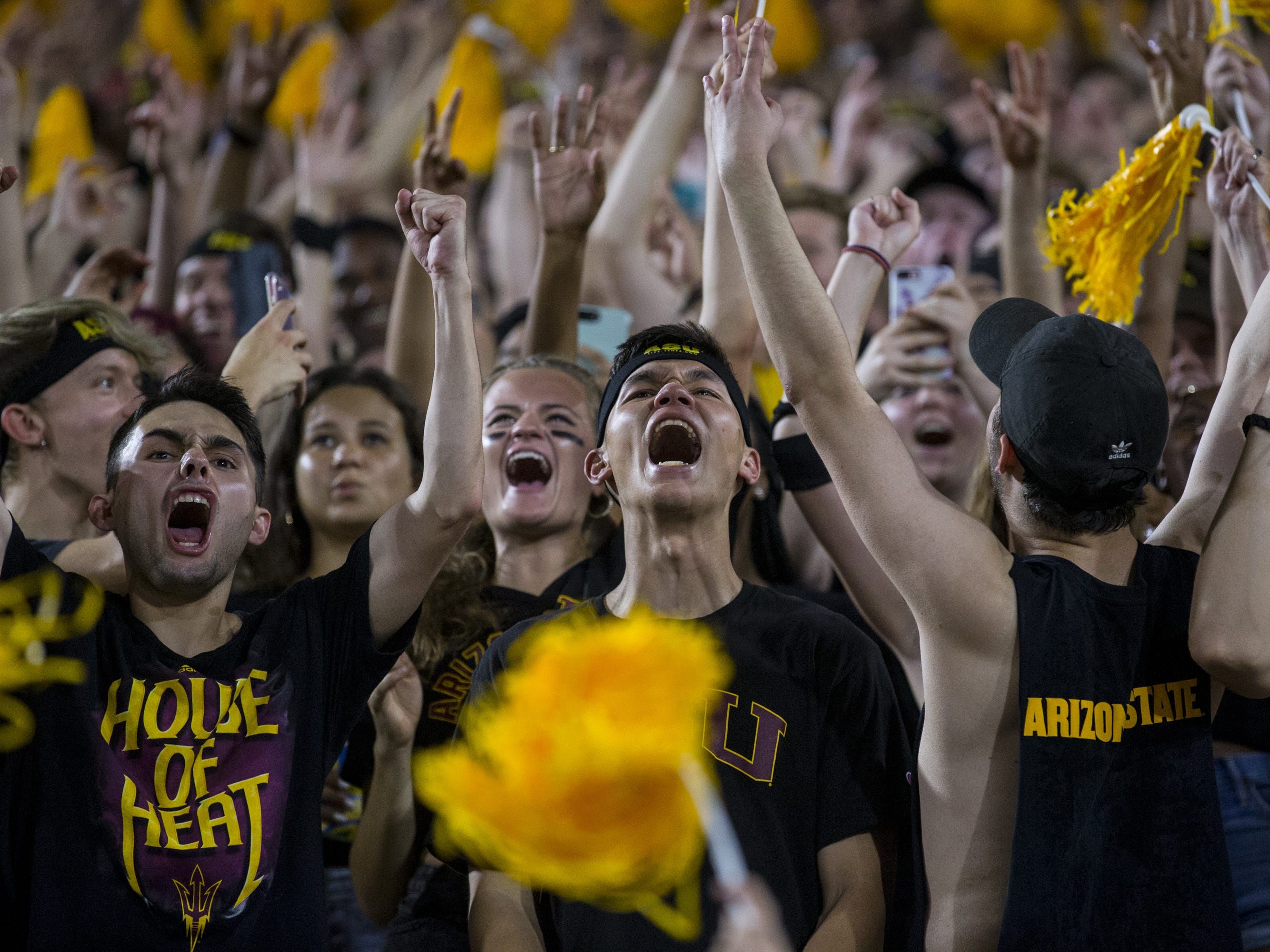 Arizona State fans cheer before the game against Michigan State on Saturday, Sept. 8, 2018, at Sun Devil Stadium in Tempe, Ariz.