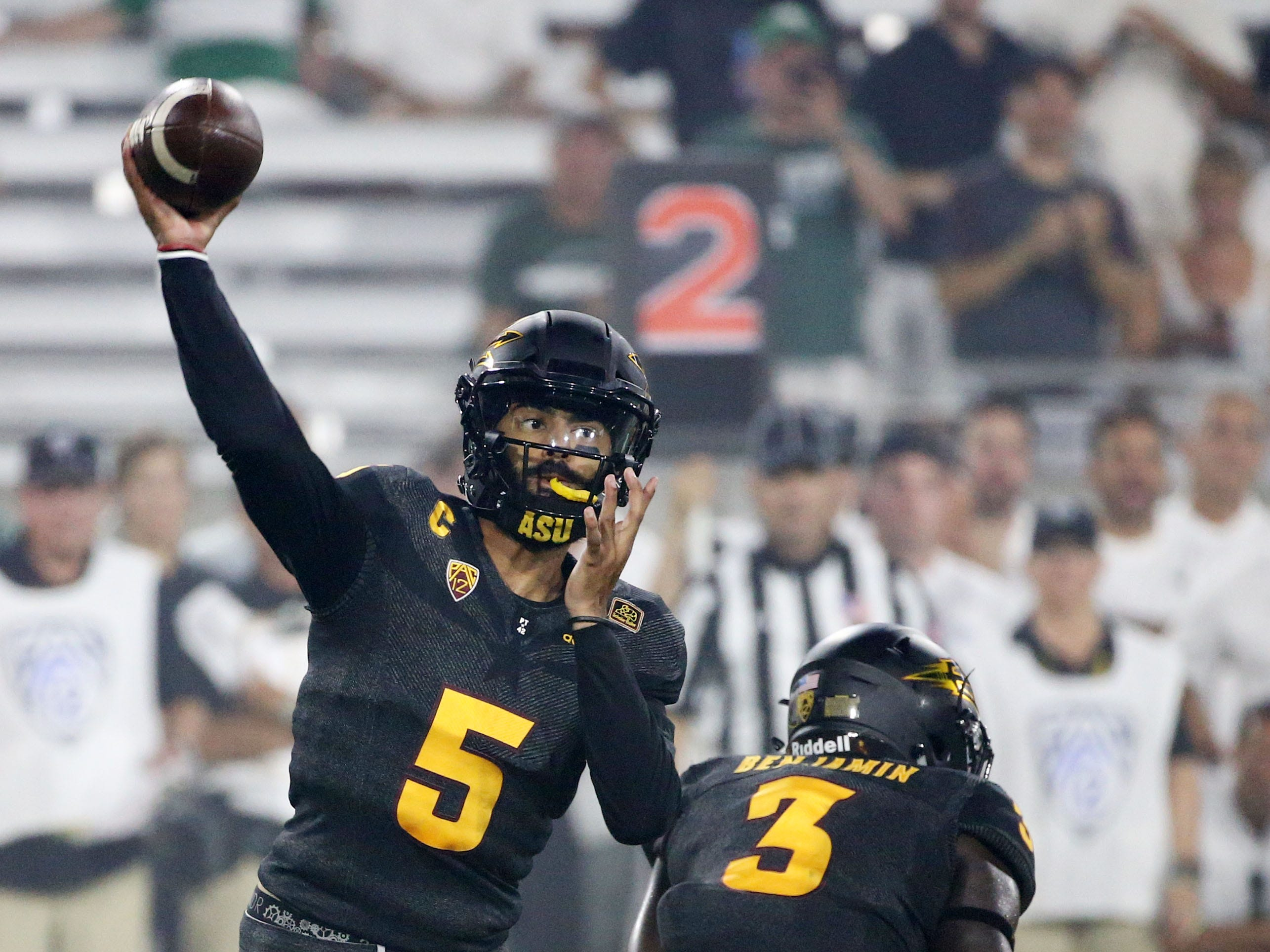Arizona State quarterback Manny Wilkins throws a pass against Michigan State on Sep. 8, 2018, at Sun Devil Stadium.