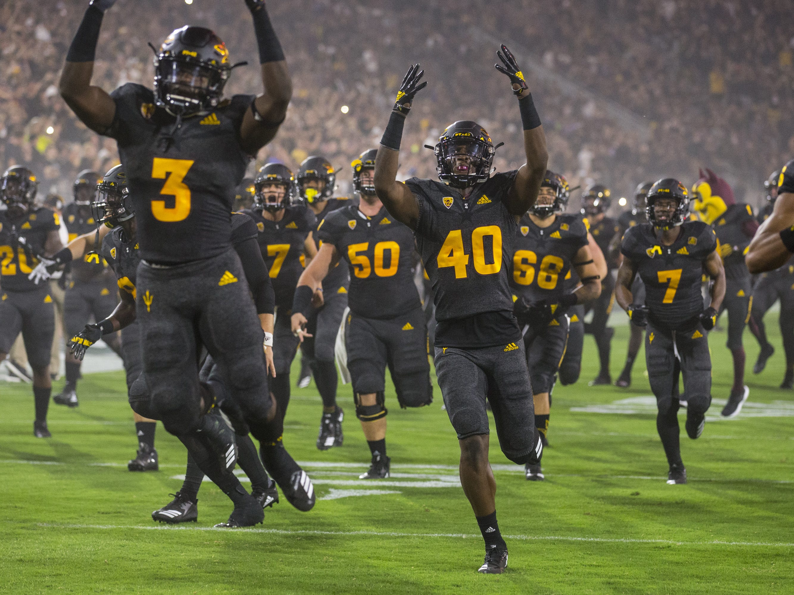 Arizona State takes the field before the game against Michigan State on Saturday, Sept. 8, 2018, at Sun Devil Stadium in Tempe, Ariz.