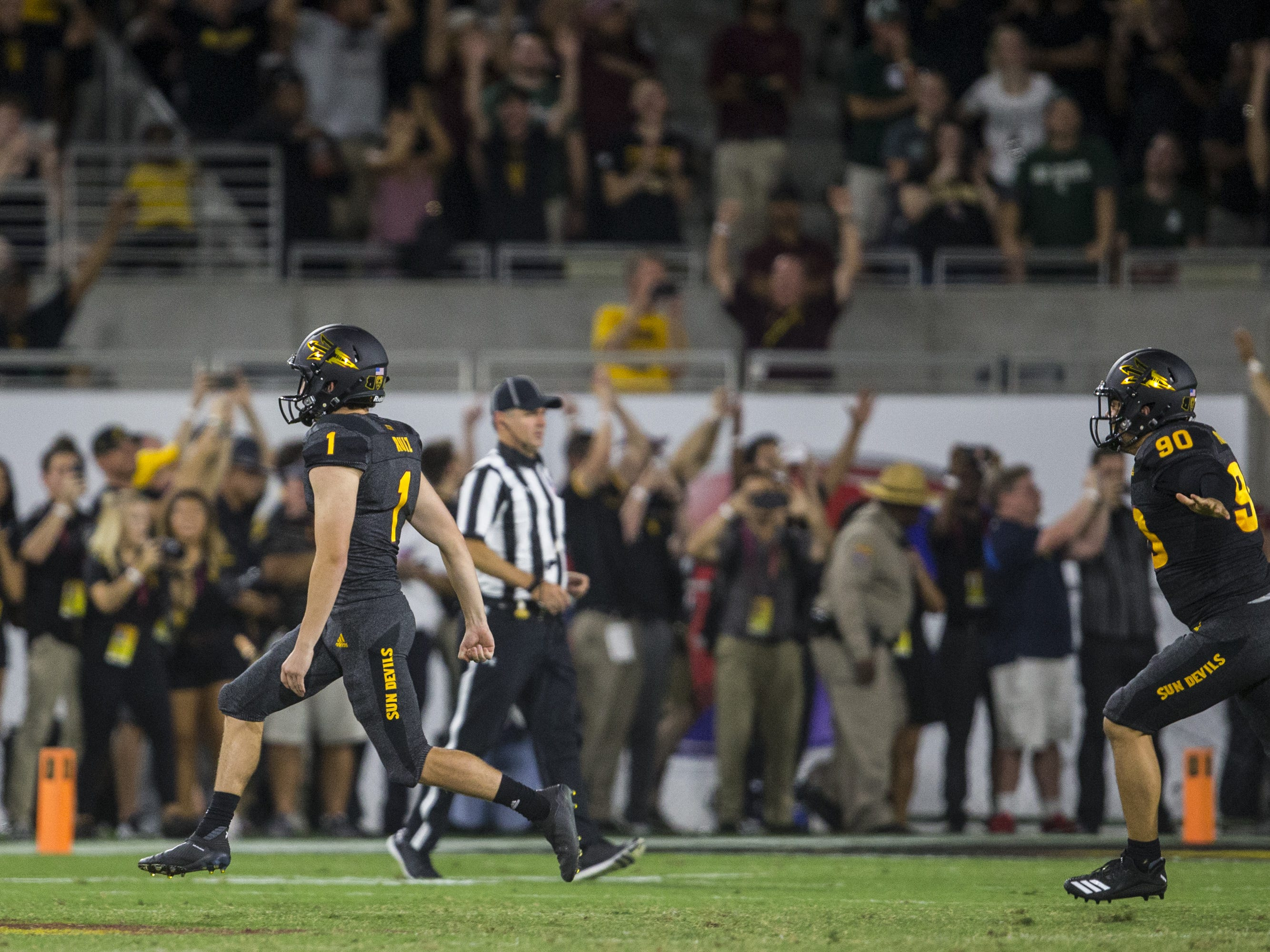 Arizona State's Brandon Ruiz celebrates after kicking the game-winning field goal against Michigan State in the 4th quarter on Saturday, Sept. 8, 2018, at Sun Devil Stadium in Tempe, Ariz. Arizona State won, 16-13.