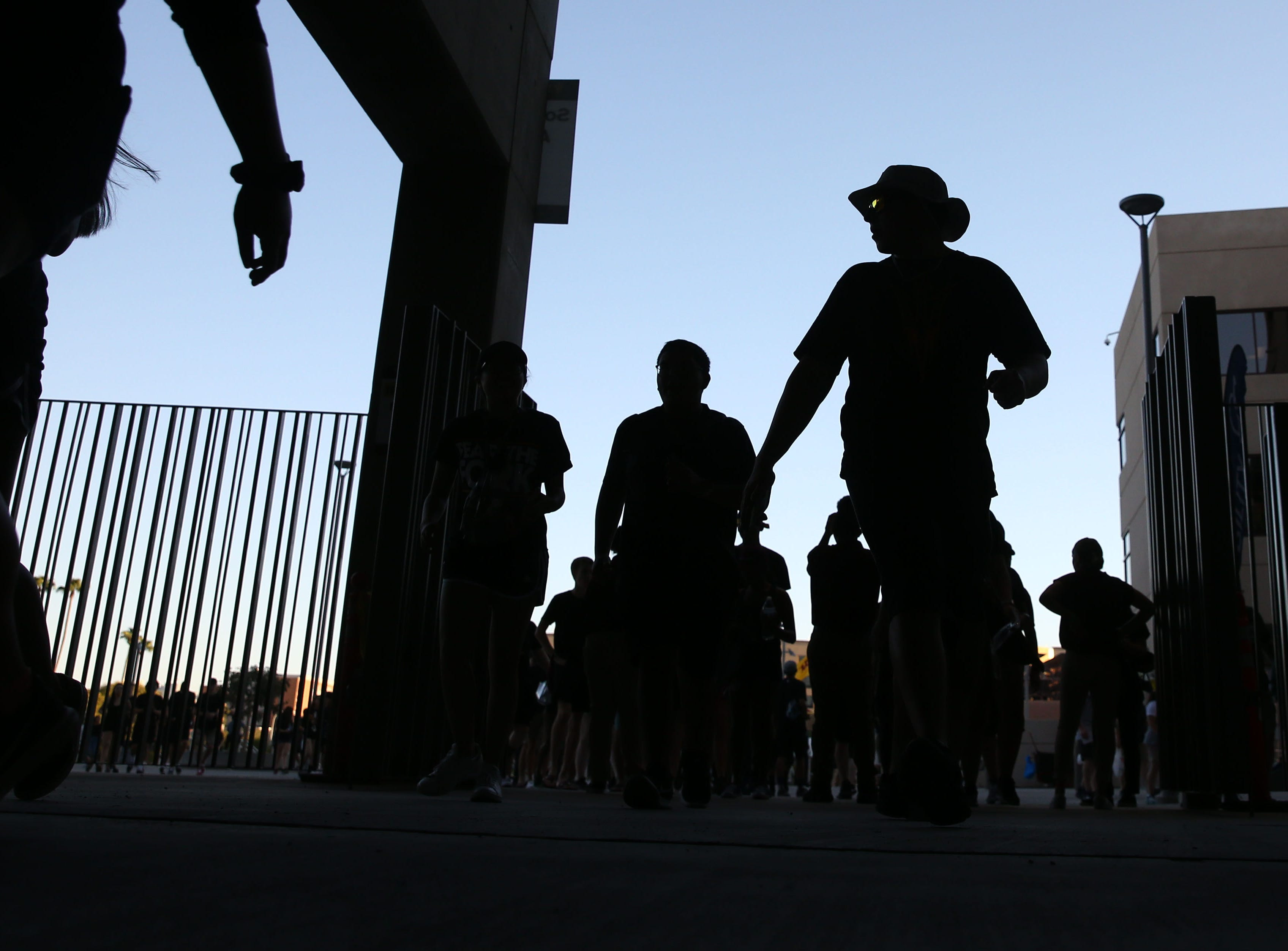 Arizona State students arrive for the game against Michigan State on Sep. 8, 2018, at Sun Devil Stadium.