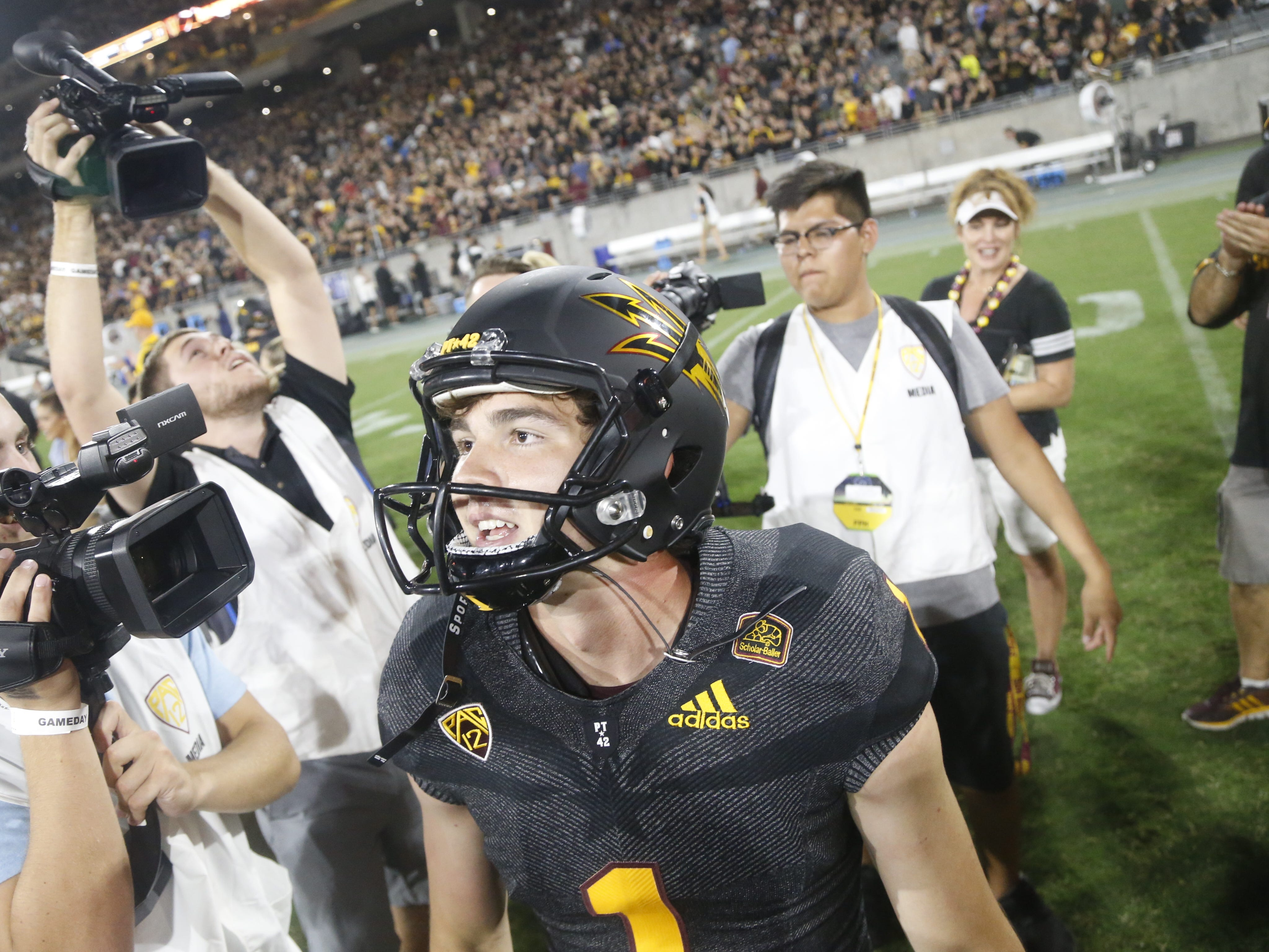 Arizona State Sun Devils kicker Brandon Ruiz (1) celebrates after kicking the game-winning field goal defeating Michigan State 16-13 at Sun Devil Stadium in Tempe, Ariz. on Sept. 8, 2018.