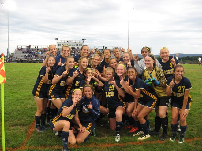The Elco girls soccer team celebrates Blue-Gray Cup 4-0 win over Cedar Crest earlier this month. The Raiders are chasing bigger goals, though, including a fourth straight Section 3 title and a deep postseason run. They improved to 10-0-1 with Wednesday's 3-1 win at Lancaster Mennonite.