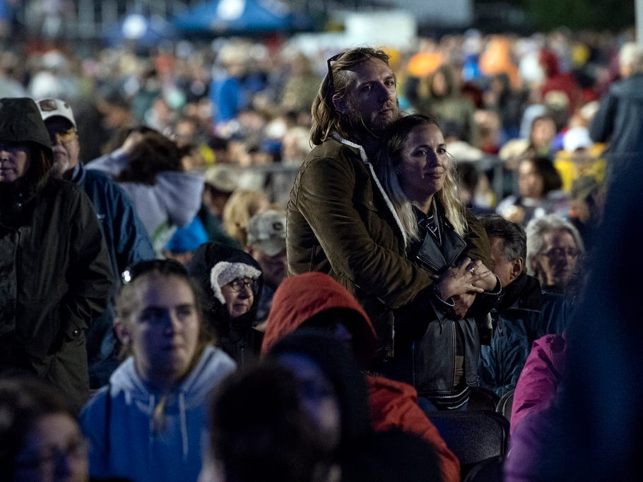 A couple waits for Van Morrison to enter the stage, Saturday, September 8, 2018. The Outlaw Country Music Festival also had performers Willie Nelson & Family, Tedeschi Trucks Band, Sturgill Simpson, Lukas Nelson and Promise of the Real and Particle Kid.