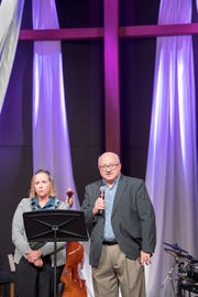 York County Coroner Pam Gay, left, and deputy coroner Claude Stabley speak to the congregation  the Church of the Open Door West York Worship Center during Opioid Awareness Sunday.