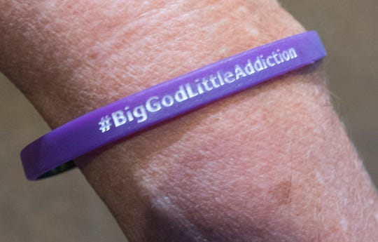 Wrist bands for #biggodlittleaddiction were handed out during the the during Opioid Awareness Sunday at the Church of the Open Door West York Worship Center. The hash tag is the name of a new support group the church is creating.