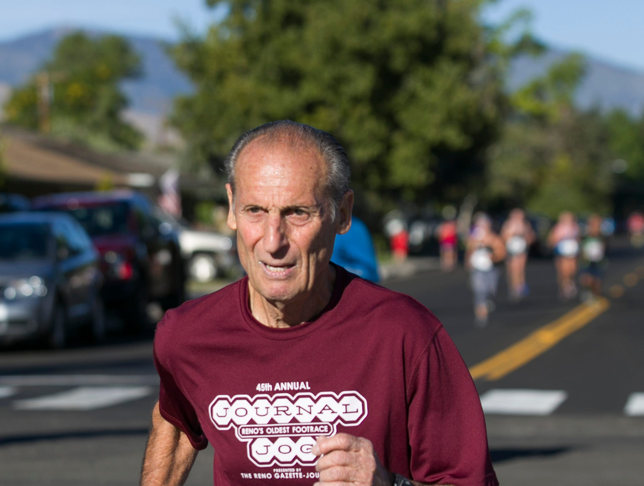 Bill Bengiveno from San Jose, CA runs during the 50th Annual Journal Jog in Reno, Nevada on Sunday, September 9, 2018.