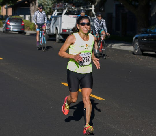 Ramona Sanchez won the women's division of the Reno 10 Mile race as part of the 50th Annual Journal Jog in Reno on Sunday.