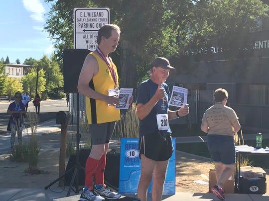 Pete Sinnott, right, won the first Journal Jog in 1969. He ran Sunday's race.