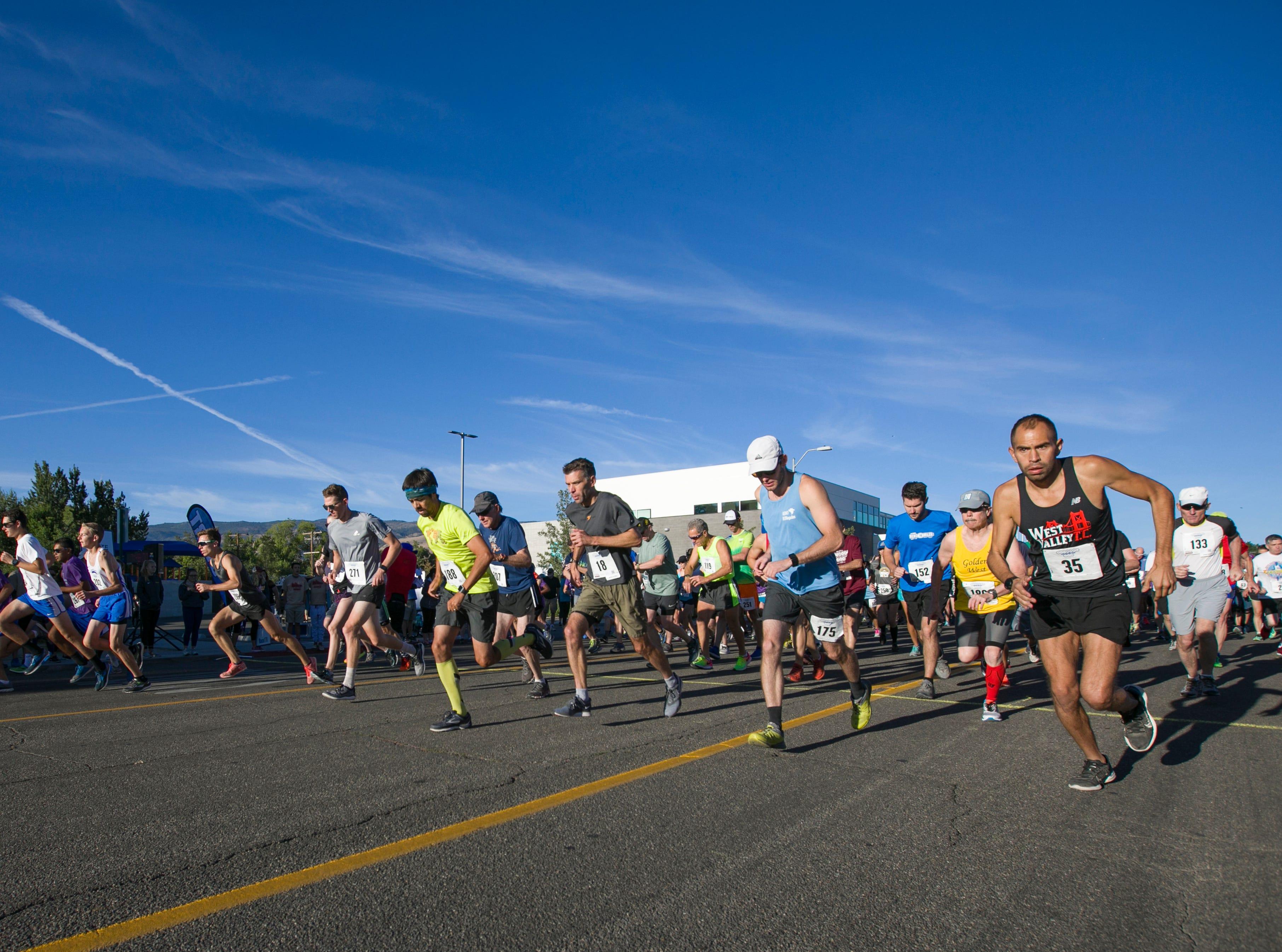 Runners start the 50th Annual Journal Jog in Reno, Nevada on Sunday, September 9, 2018.